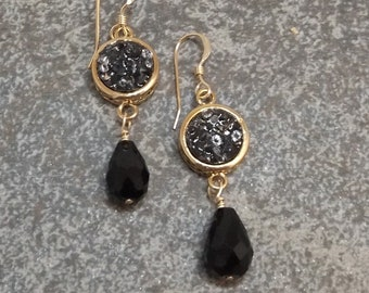 Druzy and Gold Earrings