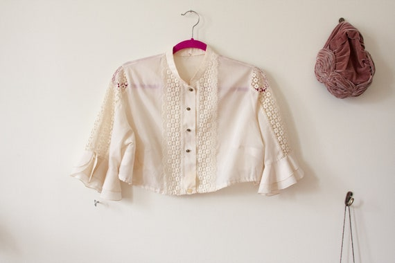 70s does Victorian Style Crochet Crop Top Size S-L