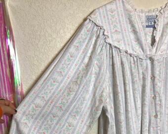 811c69625c Vintage 1980s Lanz of Salzburg Pastel Floral Cotton Flannel Nightgown