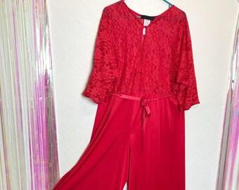75baf3960c7 Gorgeous Vintage 80s Cherry Red Plus Size Full Length Lingerie Jumpsuit