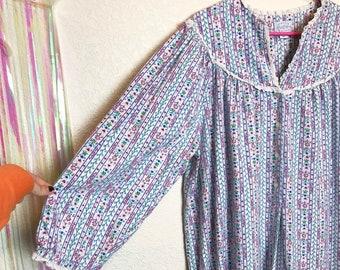 900a0234f9 Vintage 1980s Lanz of Salzburg Floral Cotton Flannel Nightgown