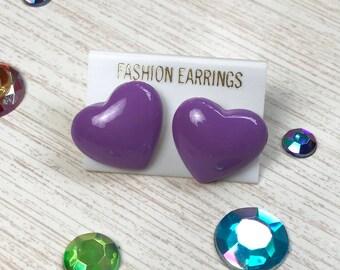 b8b778c37bf Deadstock Vintage 1980s Chunky Purple Plastic Earrings