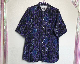 Vintage 1990s Rad Art Print Abstract Collared Button Down Shirt