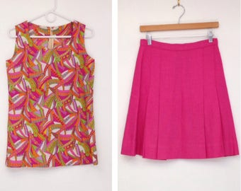 Vintage 1960s Neon Pink Psychedelic Print Floral Two-Piece Top and Skirt Set