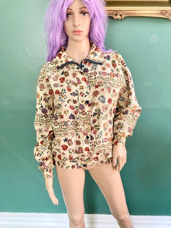 Vintage 80s Floral Silk Bomber Jacket