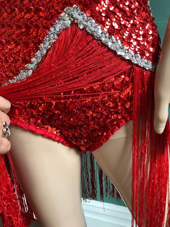 Red Sequin True Vintage 60s Fringed Leotard - image 6