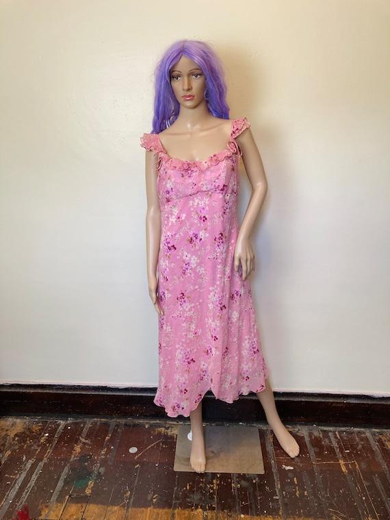 Y2K Fluttery Vintage 90s Pink Floral Dress L XL