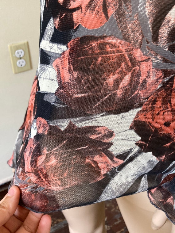 Y2K Mesh Vintage 1990s Abstract Rose Print Bell S… - image 5