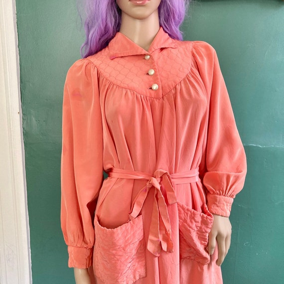 Vintage 50s Coral Pink House Coat Robe