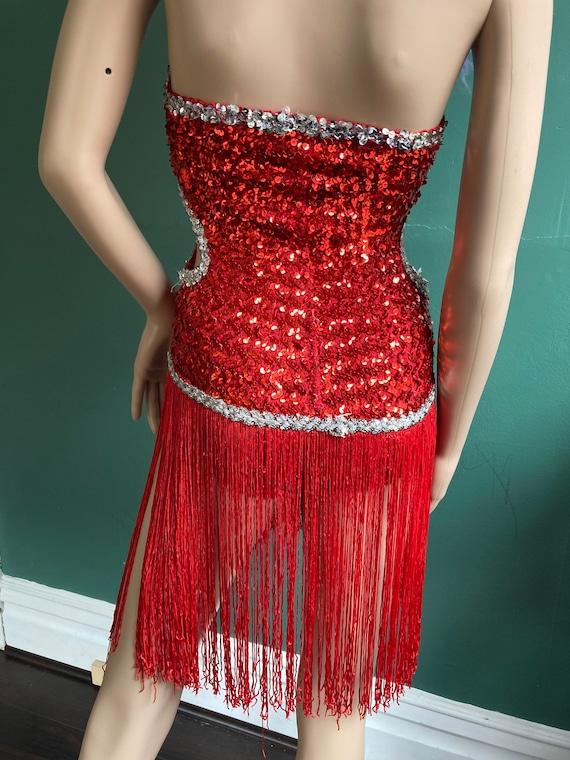 Red Sequin True Vintage 60s Fringed Leotard - image 8