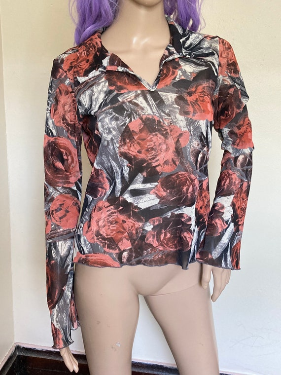 Y2K Mesh Vintage 1990s Abstract Rose Print Bell S… - image 7