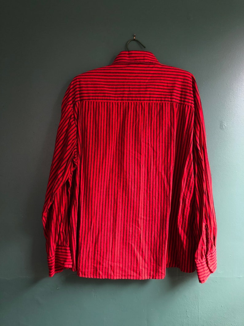Vintage 80s Black and Red Vertical Striped Cotton Oversize Rugged Western Shirt