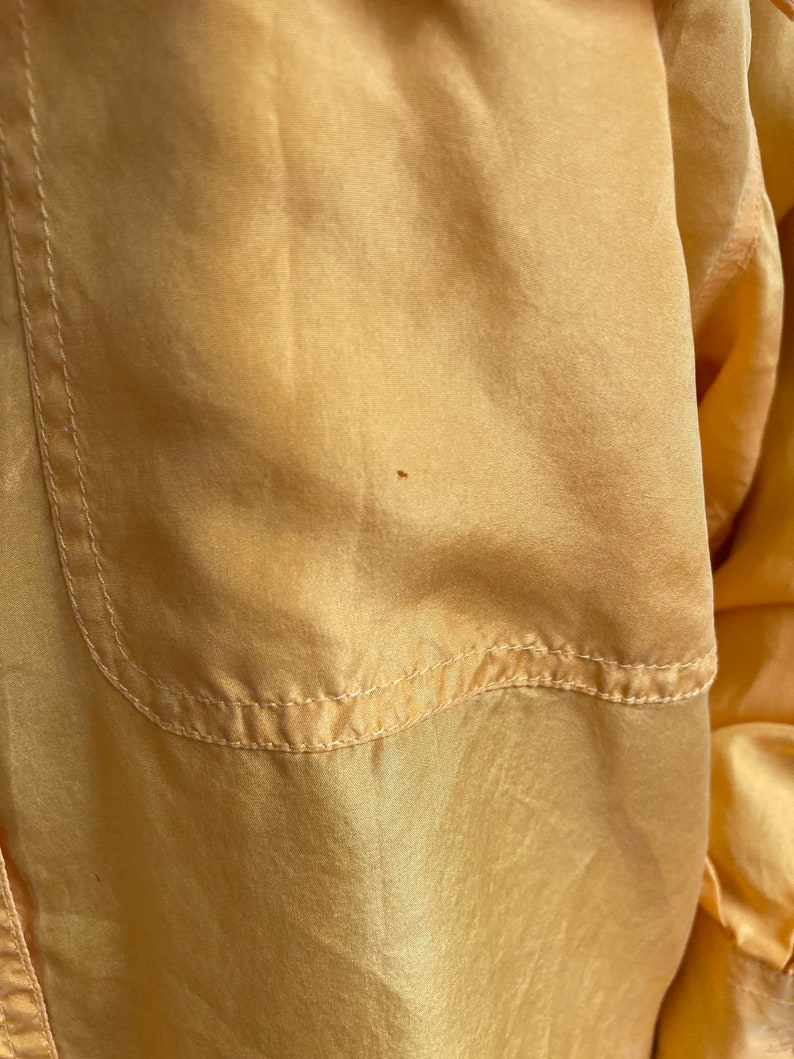 Vintage 80s Pure Silk Golden Yellow Oversize Collared Top