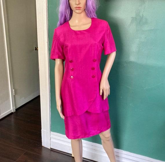 Vintage 90s Pure Silk Fuchsia Pink Dress