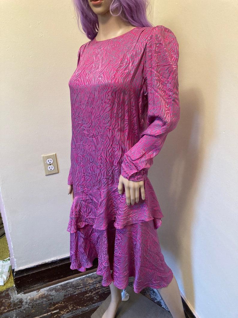 Pure Silk Vintage 80s Nora Noh Technicolor Ruffled Dress