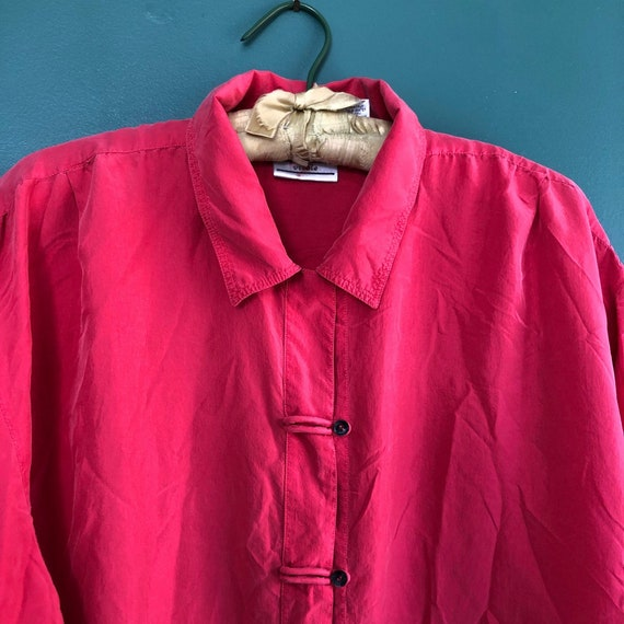 Vintage 80s Pure Silk Tomato Red Plus Size Oversiz
