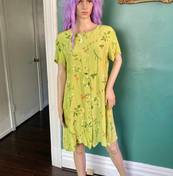 Vintage 90s Flower Garden Babydoll Mini Dress