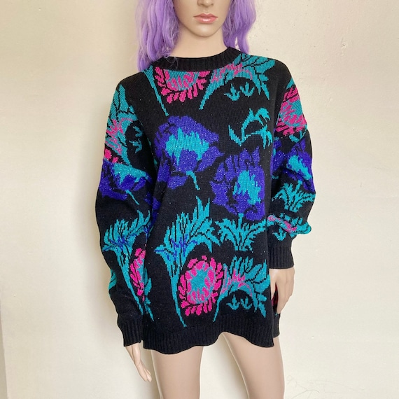 Vintage 80s Purple Sweater with Elephant Print Street Style  Size S M