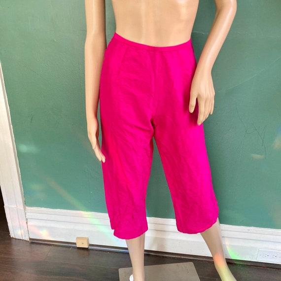 Pure Silk Vintage 90s Vivid Pink Cropped Pants