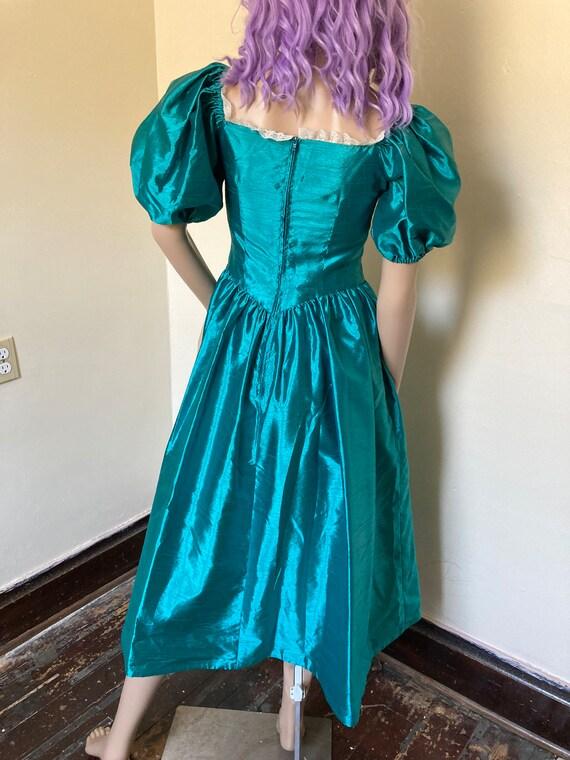 Vintage Puff Sleeve 80s Taffeta Dress - image 6