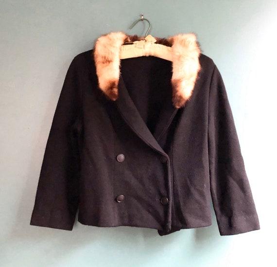 Vintage 50s Black Wool Cropped Jacket with Blonde