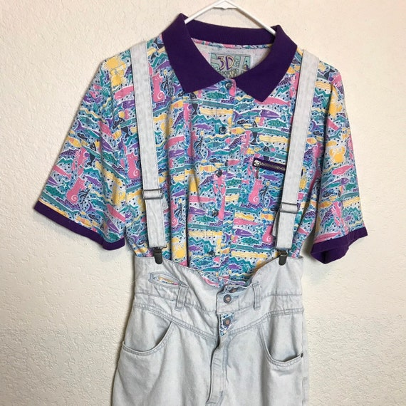 Vintage 1980s Light Wash Overall Skirt and Matchin