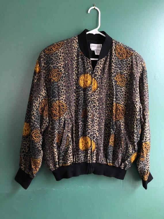 Vintage 80s Pure Silk Leopard Print Bomber Jacket