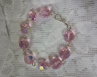 Bracelet Cotton Candy Pink Faceted Glass AB