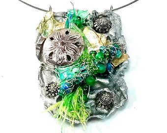 Artsy Ocean Inspired Jewelry Set, Necklace Earring with Sand Dollar, Starfish