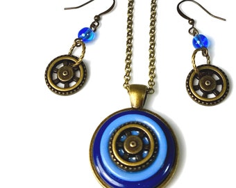 Blue Nautical Steampunk Necklace Earring Set, Button Jewelry Gift