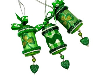 St. Patrick's Ornaments, Green Spool Ornaments, Set of 3