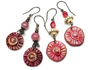 Handmade Artisan Clay Jewelry, Boho Earrings, in Rustic Pink, Red and Burgundy