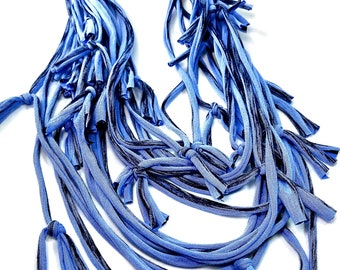 Blue Infinity Loop Scarf Statement Necklace Bracelet, Artsy Women's Fashion Accessories