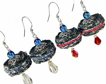 Upcycled Denim Jeans Earrings, Repurposed Materials Jewelry