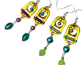 Upcycled Pop Tab Earrings, Yellow Dangle, Eco Friendly Recycled Jewelry