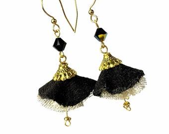 Whimsical Black Flower Fabric Dangle Earrings, Dancer Earrings
