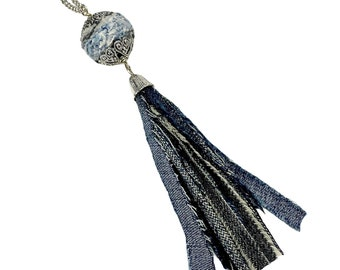 Upcycled Blue Denim Tassel Necklace, Eco Friendly Repurposed Materials, Jeans Jewelry