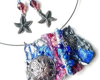 Ocean Inspired Mermaid Necklace, Starfish Sand Dollar Jewelry Set