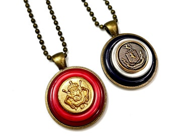 Vintage Brass Button Necklace Pendants, Upcycled Jewelry Gift For Friend