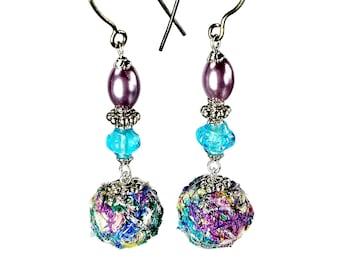 Pastel Bead Dangle Earrings, Fiber Art, Fabric Jewelry