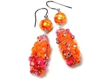 Fuzzy Pink and Orange Dangle Earrings, Fiber Art Jewelry in Summer Colors