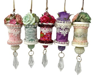 Farmhouse Chic Spool Ornaments, Upcycled Floral Decorations