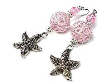 Pink Starfish Earrings, Sea Urchin, Ocean Inspired, Gift for Beach Lovers
