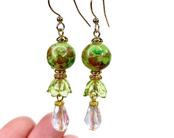 Light Green Dangle Earrings, Floral Victorian Style Jewelry, Mother's Day Gift For Mom