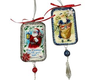 Old World Santa Ornaments; Vintage Art Christmas Decorations