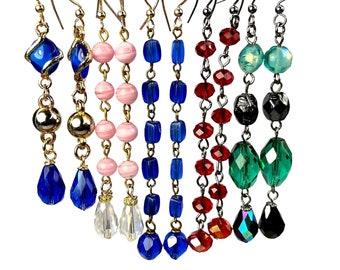 Long Upcycled Earrings, Bead Dangle, Repurposed Jewelry