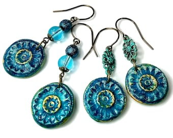 Rustic Teal Blue Earrings, Sea Anemone, Handcrafted Artisan Clay Jewelry