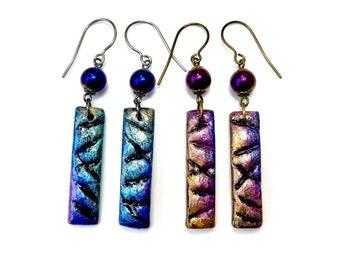 Blue or Purple Earrings, Handmade Artisan Clay Jewelry, Hypo-Allergenic