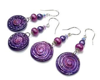 Purple Dangle Earrings, Boho Style, Clay Jewelry, Flower or Swirl, Sterling Ear Wires