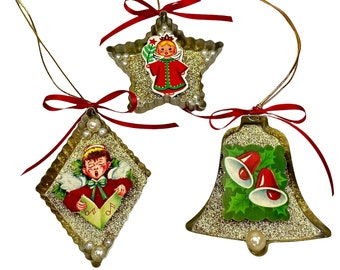 Nostalgic Repurposed Vintage Cookie Cutter Christmas Ornament Decorations, Set of 3